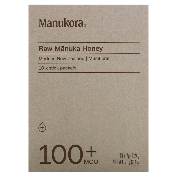 Raw Manuka Honey Sachets, 100+ MGO, 10 Sachets, 0.24 oz (7 g) Each