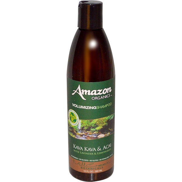 Amazon Organics, Volumizing Shampoo, Kava Kava & Acai with Lavender & Lemongrass, 12 fl oz (360 ml)