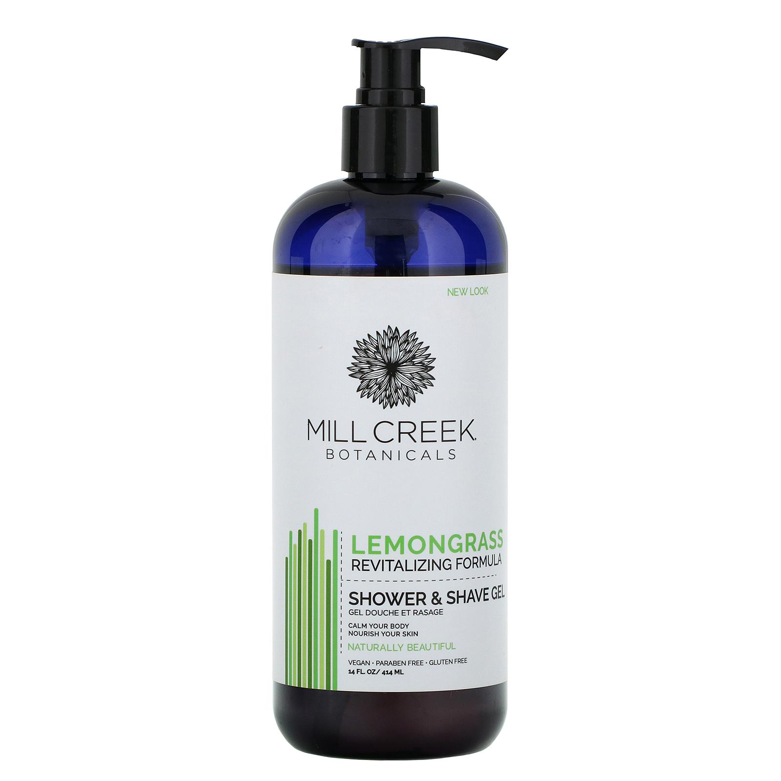 Mill Creek Botanicals, Shower & Shave Gel, Lemongrass, 14 fl oz (414 ml)