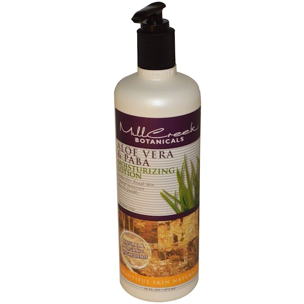 Mill Creek Botanicals, Moisturizing Lotion, Aloe Vera & PABA, 16 fl oz (473 ml) (Discontinued Item)