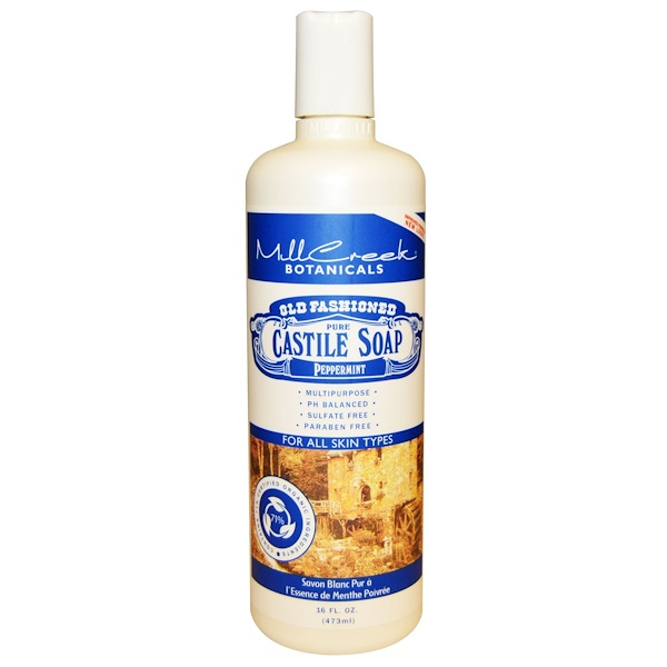 Mill Creek, Old Fashioned Pure Castile Soap, Peppermint, 16 fl oz (473 ml) (Discontinued Item)