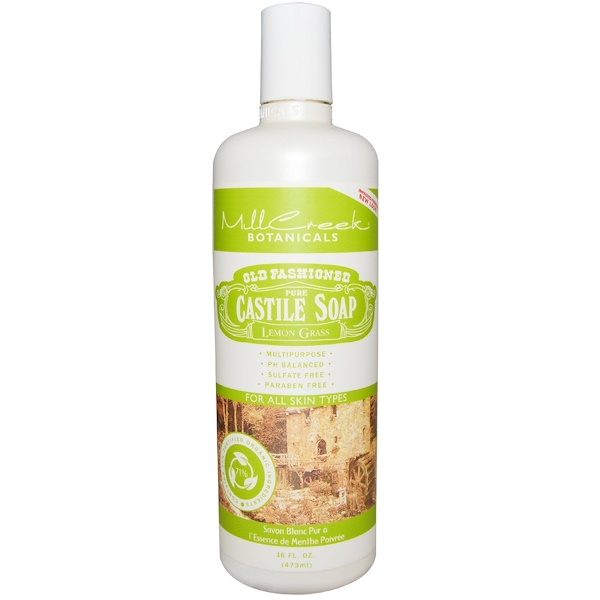 Mill Creek Botanicals, Old Fashioned Pure Castile Soap, Lemon Grass, 16 fl oz (473 ml) (Discontinued Item)