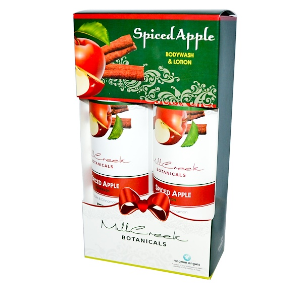Mill Creek Botanicals, Spiced Apple Bodywash & Lotion, 2 Bottle Set, 16 fl oz (473 ml) Each (Discontinued Item)