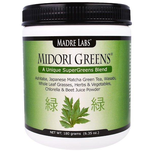 Madre Labs, Midori Greens, A Unique Super Greens Blend, with Organic Greens including Wheat Grass and Kale, No Gluten, Vegetarian, 6.35 oz. (180 grams) (Discontinued Item)