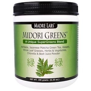 Мадрэ Лэбс, Midori Greens, A Unique Super Greens Blend, with Organic Greens including Wheat Grass and Kale, No Gluten, Vegetarian, 6.35 oz. (180 grams) отзывы покупателей