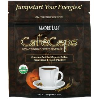 Madre Labs, CafeCeps, Растворимый органический кофе с грибами кордицепс и рейши, 3.52 oz (100 g)