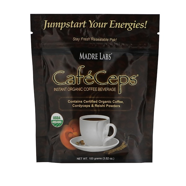 Madre Labs, CafeCeps, Certified Organic Instant Coffee with Cordyceps and Reishi Mushroom Powder, 3.52 oz (100 g)