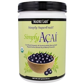 Madre Labs, Simply Acai Organic Powder, 8 oz (227 g)
