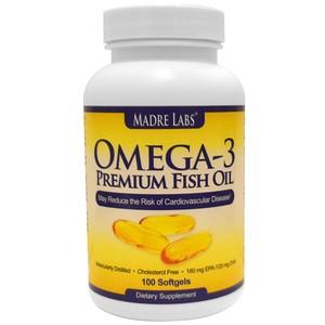 Мадрэ Лэбс, Omega-3 Premium Fish Oil, 180 mg EPA/120 mg DHA, 100 Softgels отзывы покупателей