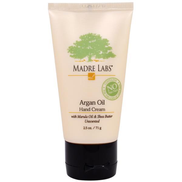Madre Labs, Крем для рук с маслом арганы, дополнительно содержит масло марула и кокоса, а также масло ши, успокаивает, без ароматизаторов, 2.5 унции, (71 г)