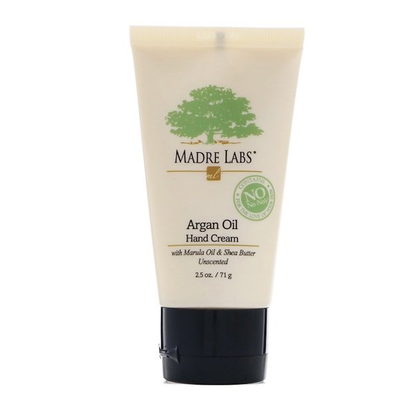 Madre Labs, Argan Oil Hand Cream with Marula & Coconut Oils plus Shea Butter, Soothing and Unscented, 2.5 oz (71 g) (Discontinued Item)