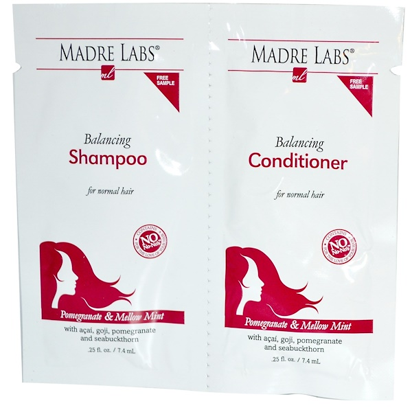 Madre Labs, Balancing, Shampoo, Conditioner, Pomegranate & Mellow Mint, 2 Packets, .25 fl oz (7.4 ml) Each (Discontinued Item)