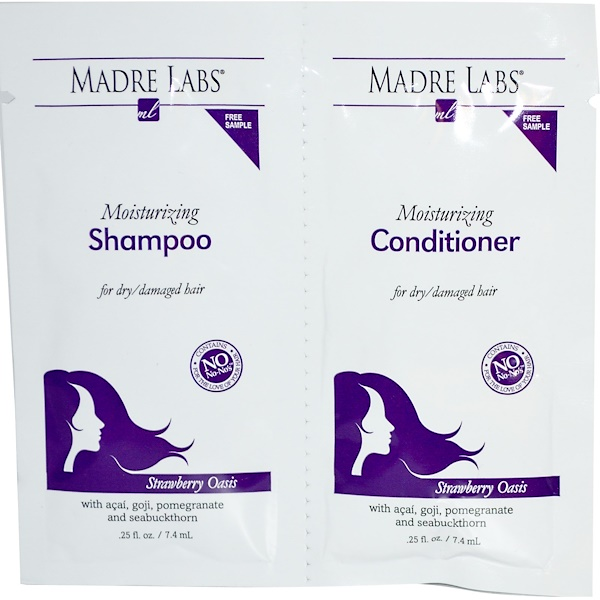 Madre Labs, Moisturizing, Shampoo & Conditioner, Strawberry Oasis, 2 Packets, .25 fl oz (7.4 ml) Each (Discontinued Item)
