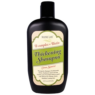 Madre Labs, Thickening B-Complex + Biotin Shampoo、No Sulfates、Citrus Squeeze、14液量オンス(414 ml)