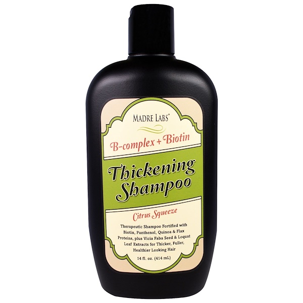 Madre Labs, Thickening B-Complex + Biotin Shampoo, No Sulfates, Citrus Squeeze, 14 fl oz (414 ml) (Discontinued Item)