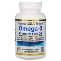 California Gold Nutrition, Omega-3, Premium Fish Oil, 100 Fish Gelatin Softgels