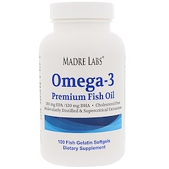 Madre Labs, Omega-3, Premium Fish Oil, No GMOs, No Gluten, 100 Fish Gelatin Softgels