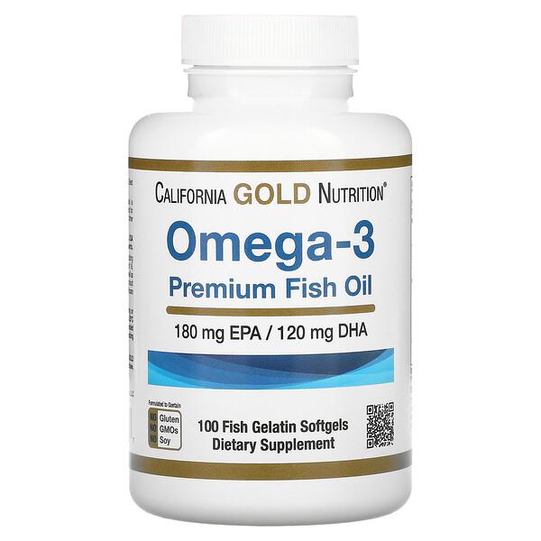 Omega-3, Premium Fish Oil, 100 Fish Gelatin Softgels