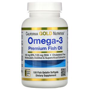 California Gold Nutrition オメガ3 プレミアムフィッシュオイル 魚ゼラチンソフトジェル100粒