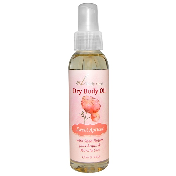 Madre Labs, Dry Body Oil、Sweet Apricot、Light and Absorbs Fast with Argan & Marula Oils + Shea Butter、4液量オンス(118 ml) (Discontinued Item)