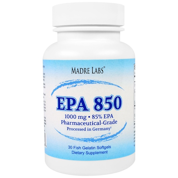 Madre Labs, EPA 850 Fish Oil, Pharmaceutical Grade, German Processed, No GMOs, No Gluten, 1000 mg, 30 Fish Gelatin Softgels (Discontinued Item)