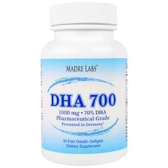 Madre Labs, DHA 700, huile de poisson de qualité supérieure ultra-concentrée, de classe pharmaceutique, traité en Allemagne, sans OGM, sans gluten, 1000mg, 30 gélules de gélatine de poisson