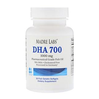 Madre Labs, DHA 700 Fish Oil, Pharmaceutical Grade, German Processed, No GMOs, No Gluten, 1000 mg, 30 Fish Gelatin Softgels