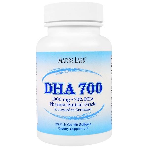 Madre Labs, DHA 700, aceite de pescado premium ultraconcentrado, grado farmacéutico, procesado alemán, sin OGMs, sin Gluten, 1000 mg, 30 cápsulas de gelatina de pescado.