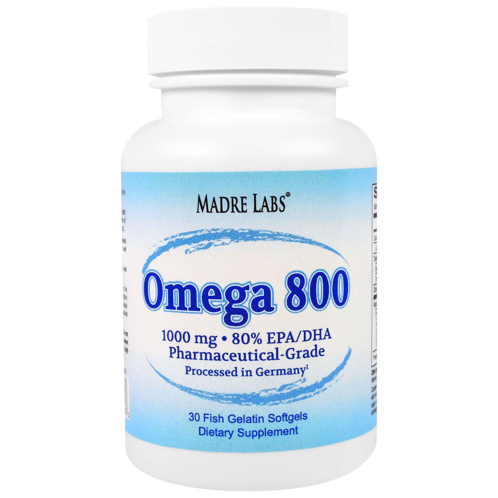 Madre Labs, Омега 800, рыбий жир фармацевтического класса, обработан в Германии, не ГМО, без глютена, 1000 мг, 30 капсул из рыбного желатина