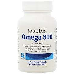 Madre Labs, Omega 800, 1000 мг, 30 мягких желатиновых капсул с рыбьим жиром