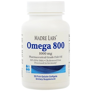 Madre Labs, Omega 800, Pharmaceutical Grade Fish Oil, 80% EPA/DHA, Triglyceride Form, German Processed, Cholesterol Free, 1000 mg, 30 Fish Gelatin Softgels
