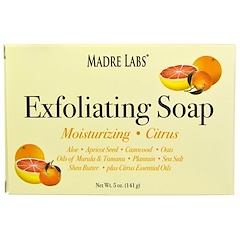 Madre Labs, Exfoliating Bar Soap, with Marula & Tamanu Oils plus Shea Butter, Citrus, 5 oz (141 g)