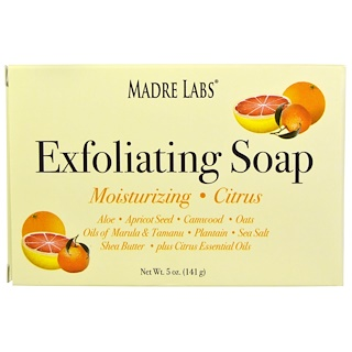 Madre Labs, Exfoliating Soap Bar with Marula & Tamanu Oils plus Shea Butter、かんきつ類、5 オンス(141 g)