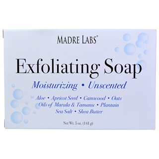Madre Labs, Exfoliating Soap Bar with Marula & Tamanu Oils plus Shea Butter, Unscented, 5 oz (141 g)
