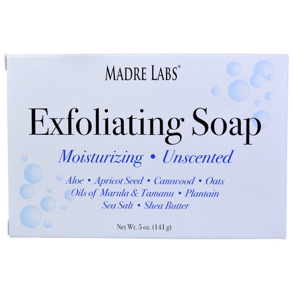 Madre Labs, Exfoliating Soap Bar with Marula & Tamanu Oils plus Shea Butter、無香料、5オンス(141 g) (Discontinued Item)
