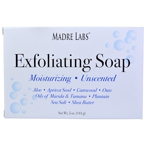 Мадрэ Лэбс, Exfoliating Bar Soap, with Marula & Tamanu Oils plus Shea Butter, Unscented, 5 oz (141 g) отзывы покупателей