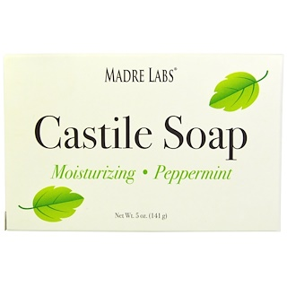 Madre Labs, Castile Soap Bar, No Gluten, No GMOs, No Sulfates, Plant-Based, Peppermint, 5 oz (141 g)