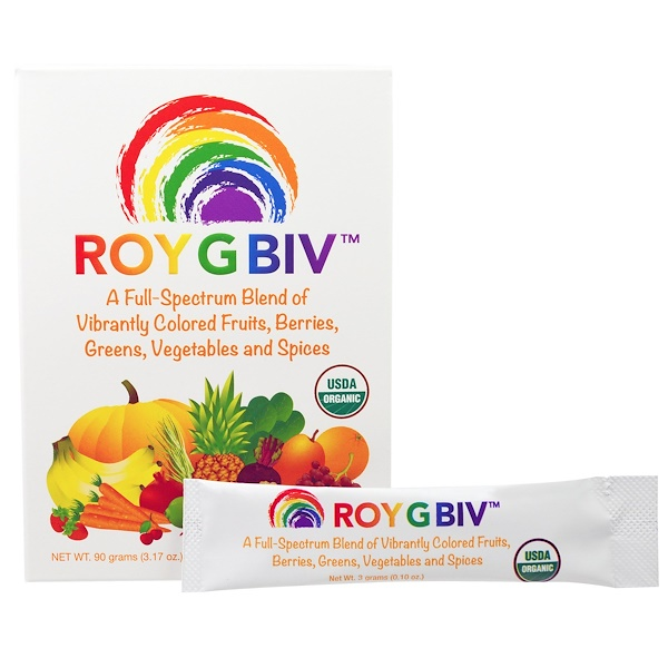 Madre Labs, ROY G BIV, Organic Concentrated SuperFood, Premium Blend, Nutrient-Rich, No GMOs, Vegetarian, 30 Packets, 3 g Each