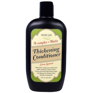 Madre Labs, Thickening B-Complex + Biotin Conditioner, No Sulfates, Citrus Squeeze、14液量オンス(414 ml)