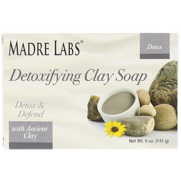 Madre Labs, Detoxifying Clay Soap Bar, with Ancient Clay, Eucalyptus & Peppermint, 5 oz (141 g)