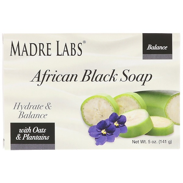Madre Labs, African Black, Bar Soap, With Oats & Plantains, 5 oz (141 g) (Discontinued Item)