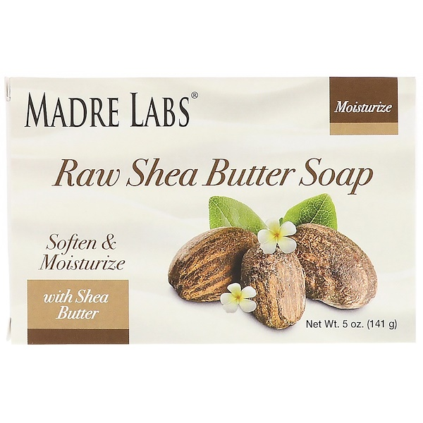 Madre Labs, Raw Shea Butter, Bar Soap, with Vitamin E, Rosemary, Myrrh & Frankincense, 5 oz (141 g) (Discontinued Item)