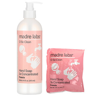 Madre Labs, Hand Soap, 3x Concentrate, Freesia, 1 Pouch, 4 oz (118 ml)