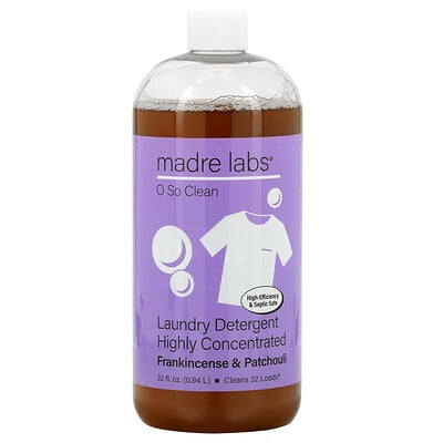Madre Labs Highly Concentrated Laundry Detergent, Frankincense and Patchouli, 32 fl oz (0.94 L)