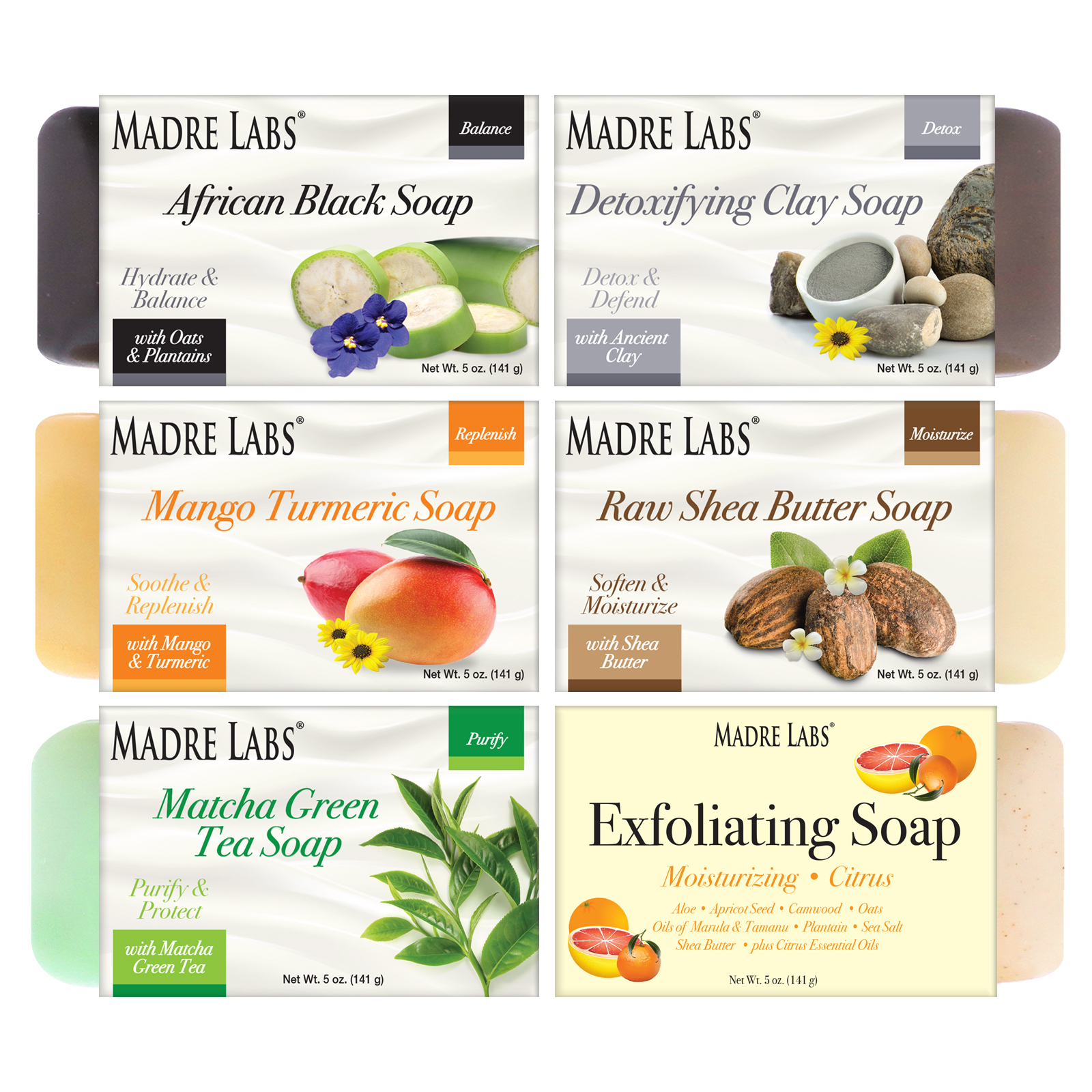 Madre Labs, Cleansing Soap Bars, 6 Scents Variety Pack, 6