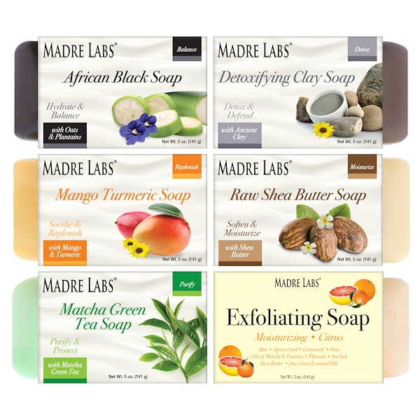 Madre Labs, Cleansing Soap Bars, 6 Scents Variety Pack, 6 Bars, 5 oz (141 g) Each (Discontinued Item)