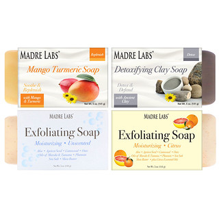 Madre Labs, ألواح من الصابون المنظف، 4 عبوات متنوعة معطرة، 5 أوقية (141 غرام) لكل لوح