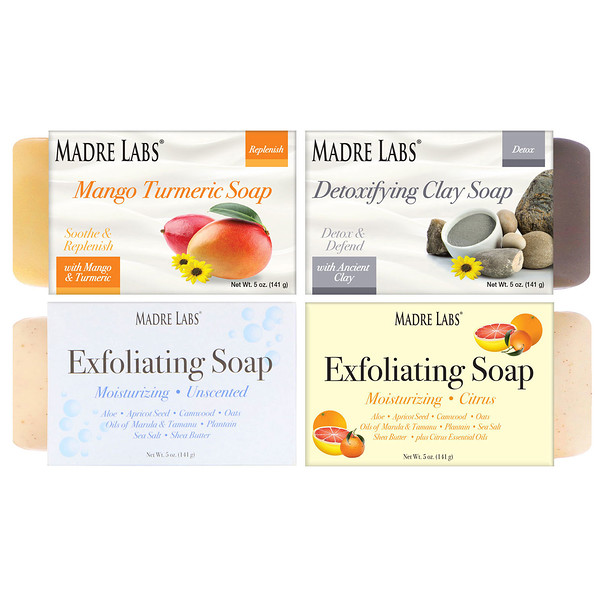 Madre Labs, 4 Cleansing Bar Soaps, Variety Pack, 4 Scents, 5 oz (141 g) Each (Discontinued Item)
