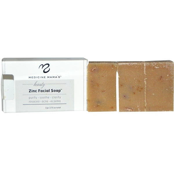Medicine Mama's, Beauty Zinc Facial Soap, 3 pc, 3.75 oz (Discontinued Item)