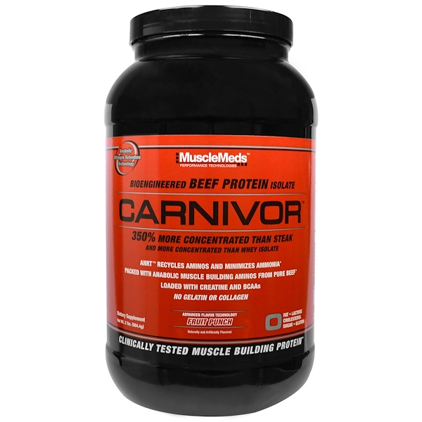 MuscleMeds, Carnivor, Bioengineered Beef Protein Isolate, Fruit Punch, 2 lbs (904.4 g) (Discontinued Item)